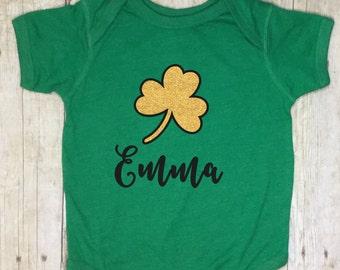 St. Patricks Day Girl Bodysuit-Green Bodysuit-St. Patricks Day Baby Girl-St. Patricks Clover-Toddler-First St Patricks Day-Monogrammed