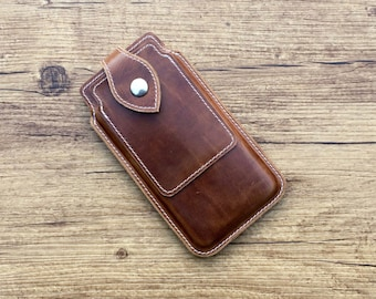 Mobile phone pocket with closure and EC card cover, mobile case, antique leather, custom made case