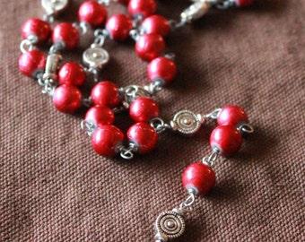 St. Michael Chaplet - Ruby Paint Drip