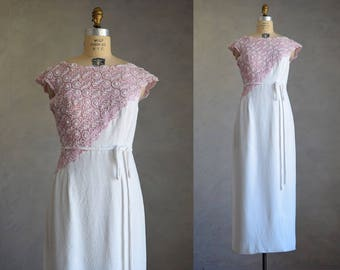 vintage 1960s lace gown | vintage 60s pink and white beaded lace maxi dress | two-tone vintage sheath dress | beaded vintage gown