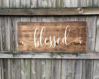 Blessed, Wood Signs, Rustic Signs, Rustic Decor, Bless this home