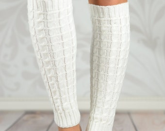 White Cable Knit Leg Warmers