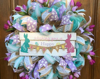 Deco Mesh Easter Wreath - Easter Wreath -  Spring Deco Mesh Wreath - Easter Bunny Wreath - Happy Easter Wreath - Spring Welcome Wreath