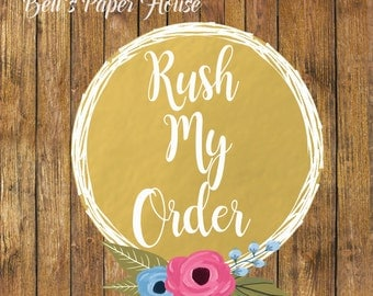 Rush Your Order- Rush Digital Or Printed Order- Shipping Rush-2 Days Shipping-