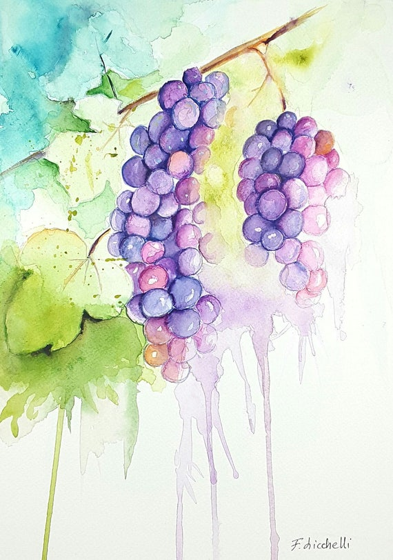 Watercolor with grapes and leaves, copy of unknown artist, painting to hang on kitchen or restaurant wall, gift idea for her birthday.