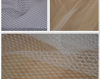 SAMPLE SWATCH Birdcage Net Veiling Fabric, Extra Wide, in White, Ivory and Black. Bird Cage Veil Vintage 1940s Retro