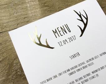 Rustic wedding gold foil menus- wedding menus, gold foil, silver foil, copper foil, rose gold