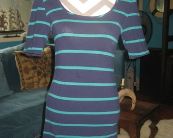 Navy Blue/Turquoise Striped Figure-Hugging Stretch Mini Dress