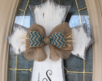 Distressed Rustic Wooden Cross Door Hanger/Monogrammed/Burlap Bow/Easter/Wall Decor/Easter/Home/Office Decor/Birthday Gift/Housewarming Gift