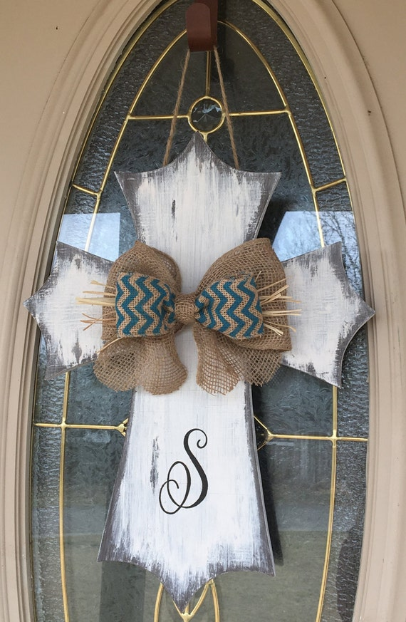 distressed rustic wooden cross door hanger  monogrammed  burlap