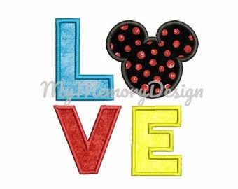 Love applique design , Mouse head embroidery design , Baby embroidery  , Machine embroidery design , Instant download - 4x4 5x7 6x10