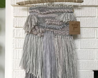 Grey Woven Wall Hanging - Handmade Tapestry - Weaving - Mid Century Modern - Boho Decor - Home Decor - Home and Living