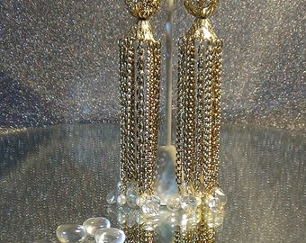Sensational waterfall or chandelier earrings which are 5 inches long.
