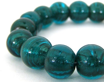 19 Artisan Made Silver Lined Glass Lampwork Beads - Teal Green - Round - 12mm