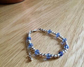 Amici. Silver and winter blue bracelet