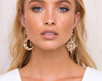 Moon To Sun Rose Gold and Red Earrings