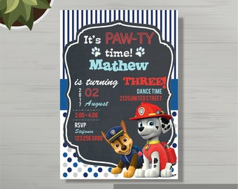 Personalized Paw Patrol Birthday Party Invitations for Boys, Birthday Invitation Template, Paw Patrol Birthday Invite for Boy, Any Age