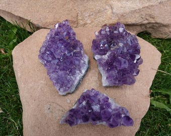 Clearance SALE!!!  Set of 3 Amethyst Crystal Cluster from Brazil | Purple Amethyst Crystals | Healing Crystal | Mineral Specimen #20