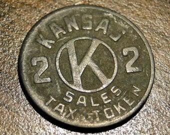 "VINTAGE KANSAS SALES Tax Token - 1/2"" Dia. - Nice!"