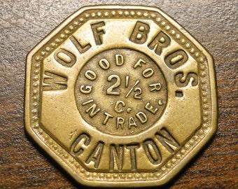 """Canton MO Token Wolf Bros Canton Mo Good For Advertising Trade Token Restraurant & Billiards  2 1/2 Cents Token Brass 7/8"""" Diameter Octagon"""