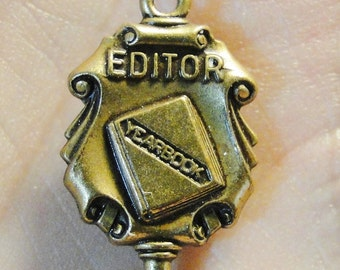 """Vintage Yearbook Editor Pin Back - 5/8"""" X 7/8"""" - Very Nice!"""