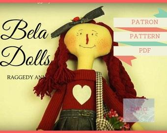"Patrón muñeca Raggedy Ann 60cm - Pattern Doll 23"""