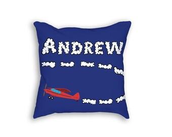 Custom Airplane Pillow, Custom Boys Room Decor, Personalized Pillow, Airplane Throw Pillow
