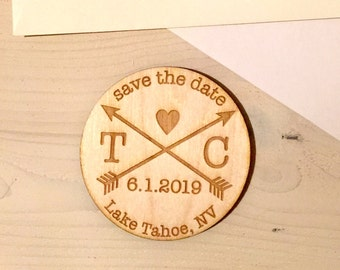 Save The Date Magnets - Custom - Wooden - Floral