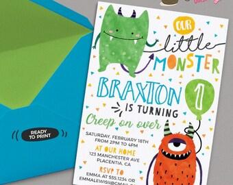 Little Monster Birthday invitations DIY printable Monster Birthday invite little monsters party invitation Watercolors Monster invite