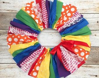 Rainbow Theme Fabric Tutu, Rainbow Color Birthday Outfit, Baby Girl Rainbow First Birthday