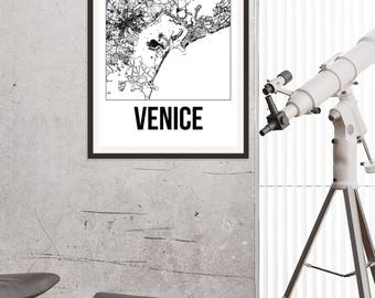 Venice City Map Print - Black and White Minimalist City Map - Venice Map - Venice Art Print - Many Sizes/Colours Available