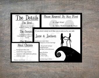 the nightmare before christmas wedding invitation set printable invitation wedding invitations instant download - Nightmare Before Christmas Wedding Invitations