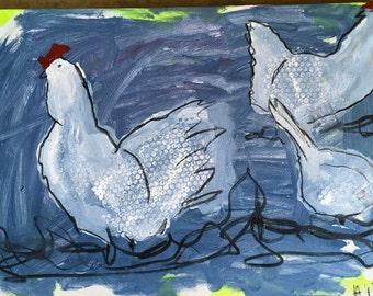 3 happy chickens green