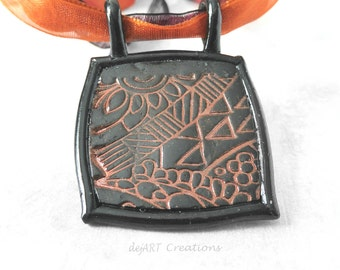 Coppery Polymer Clay Necklace, Abstract Pendant, Statement Necklace, Handmade Jewelry, Wearable Art, One of a Kind