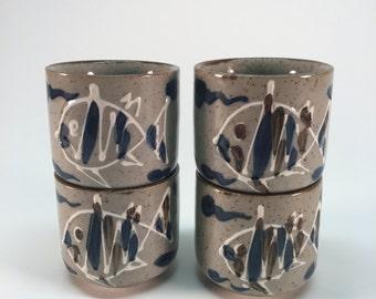 MCI Japan stoneware sake fish cups