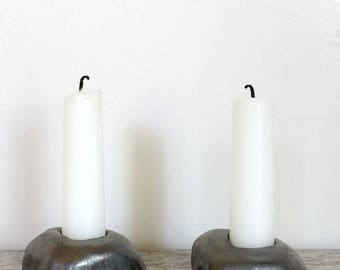 Gun Metal Gray Rock Candlestick Holders; Pottery; Handmade Ceramics; Home & Living; Decor