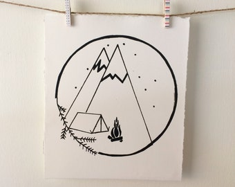 Sleeping under the stars ORIGINAL screen print, camping silkscreen, gift for outdoor lovers and adventure seekers, hand printed individually