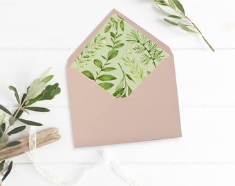Botanical Envelope Liner, Printable Greenery Envelope Liner, Watercolor Leaves Envelope Liner, Foliage Liner, Instant Download 105-A 126-W