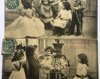 Antique Black and white photographs * 1900s Children pretend play
