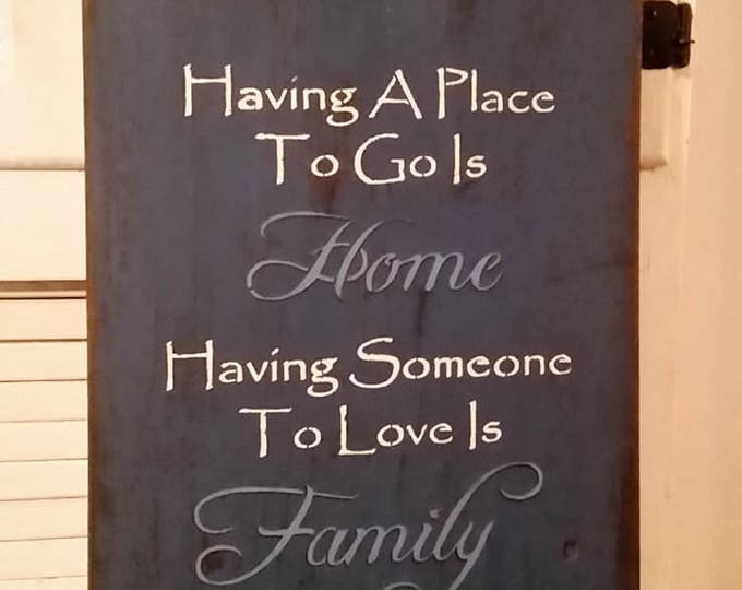 Primitive Willow/Sheep Home & Family Large Wood Sign