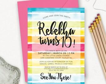 Art Party Invitation / Rainbow Birthday Party Printable Invitation / Painting Party Invitation / Craft Party Birthday Invite