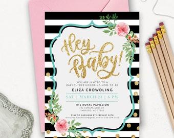 Printable Baby Shower Invitation Gender Neutral / Floral Baby Shower Invites / Gold Glitter Baby Shower Invitation Printable