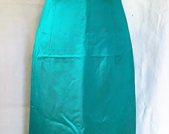 Vintage evening dress from 1960's in peacock green Made in England by Gina Gaye London. Size 8