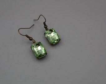 Crystal Earrings Swarovski Crystal Octagon Drop Dangle Earrings Victorian Jewelry Women Jewelry Green