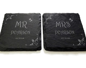 Mr and Mrs Slate Engraved Coaster Set Wedding Gift