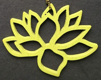 Bohemian lime green wooden lotus flower charm pendant with 30 inch petite beaded antique bronze necklace.