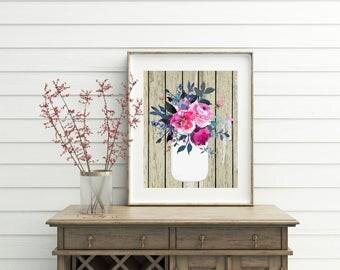 Cottage decor, printable, cottage wall decor, mason jar, mason jar decor, mason jar wall art, wall art, wall decor, printables, wood art