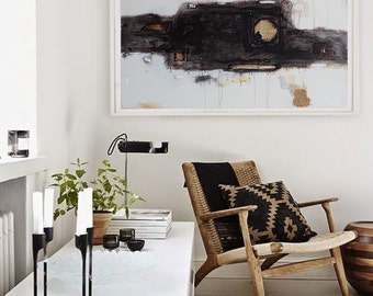 Oil painting, Hand made Extra Large Contemporary Painting, Huge Abstract Canvas Art, black, white, gold,  art deco, Acrylic painting.