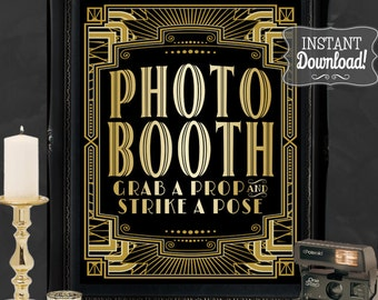 Gatsby Photo Booth Poster - INSTANT DOWNLOAD - Printable Wedding & Birthday Party Art Deco 1920s Sign - 3 sizes included - Sassaby Weddings