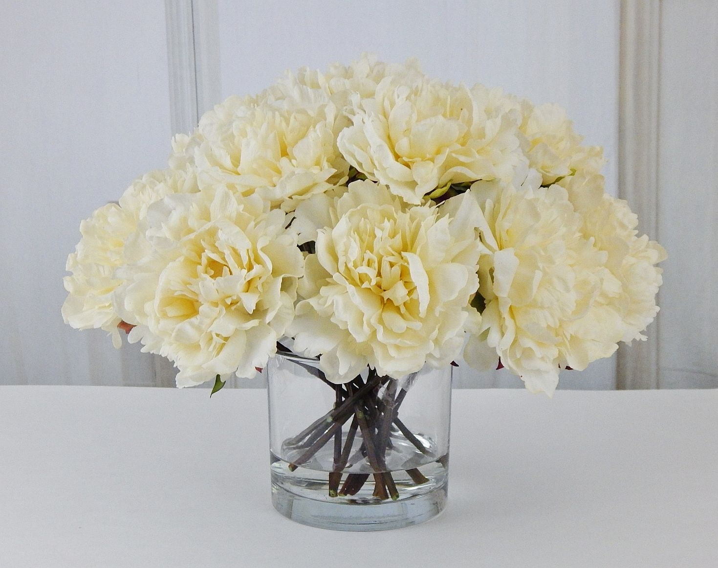Large creamivory peonypeonies silk floral arrangement glass large creamivory peonypeonies silk floral arrangement glass vase faux water acrylicillusion real touch flowers centerpiece reviewsmspy